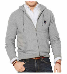 POLO-RALPH-LAUREN-MENS-POLO-BEAR-BASKETBALL-ZIP-HOODIE-GRAY-SMALL-amp-MEDIUM