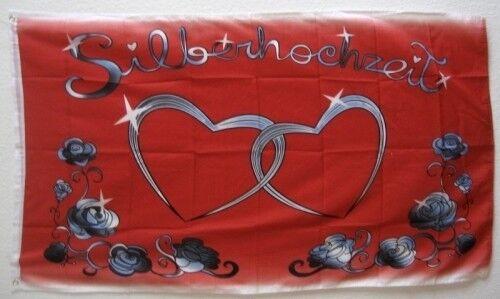 150x90cm TDShop24 Fahne Flaggen SILBERHOCHZEIT