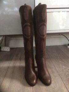 4 Withtags Spencer rrp£75 Leather size Knee High Brown suede Marks And new Boots fqBPzOccU