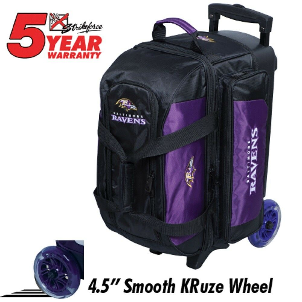 NFL BALTIMORE RAVENS 2 Ball Bowling Roller Bag NEW DESIGN Urethane Wheels