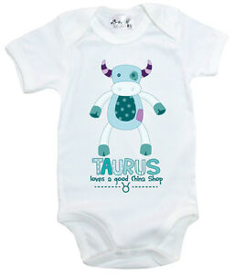 Dirty-Fingers-034-Taurus-Loves-A-Good-China-Shop-034-Bodysuit-Baby-Zodiac-Star-Sign