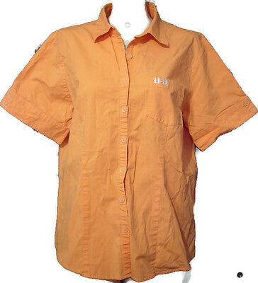 Harley-Davidson HD Emblem Women's Orange Short Sleeve Shirt Blouse Size XL