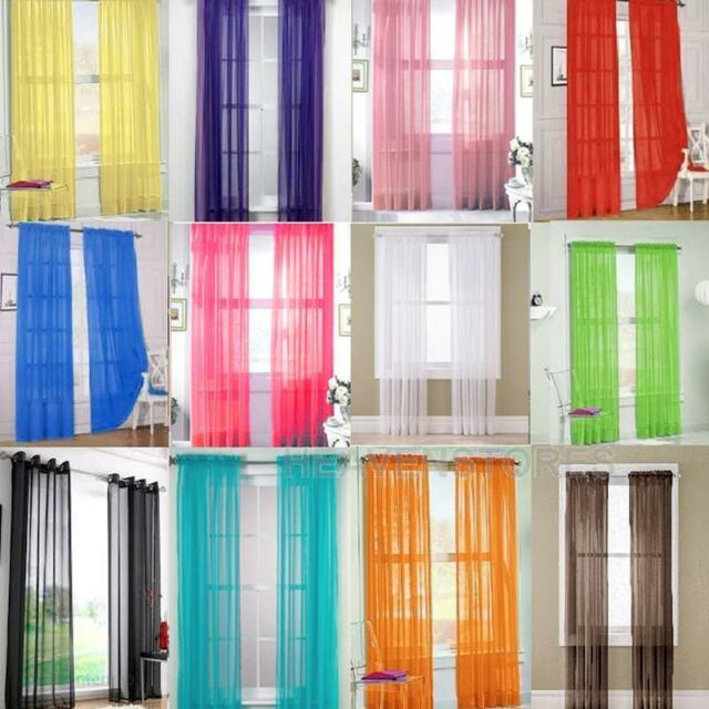 2 X Valances Tulle Voile Door Window Curtain Drape Panel Sheer Scarf Divider #H2