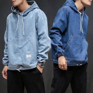 d78d3863e HOT Men's Casual Denim Hooded Pullover Loose Jeans Top Coat Jacket ...