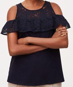 3f033b5a8fd58 Details about Ann Taylor LOFT Lace Flounce Cold Shoulder Top Size X-Small