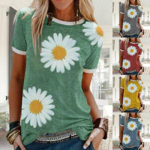 Women-Summer-Crew-Neck-Short-Sleeve-T-Shirt-Daisy-Print-Blouse-Casual-Tops-Tee