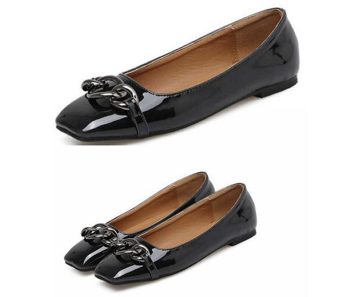 Bailarinas mocasines  piel Zapatos  de mujer suela negro brillante como piel  cómodo 8c1a32