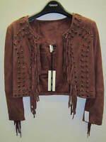 TOPSHOP Suede Leather Fringed Crop Jacket in Wine UK 8 EUR 36 US 4 RRP £140 BNWT
