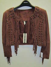 TOPSHOP Suede Leather Fringed Crop Jacket in Wine UK 8 EUR 36 US 4 RRP £140 BNWT