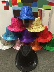 FEDORA-Trilby-Hat-Cap-Glitter-Sequin-Sequinned-Dance-Party-Costume-MJ-Jazz-Hats