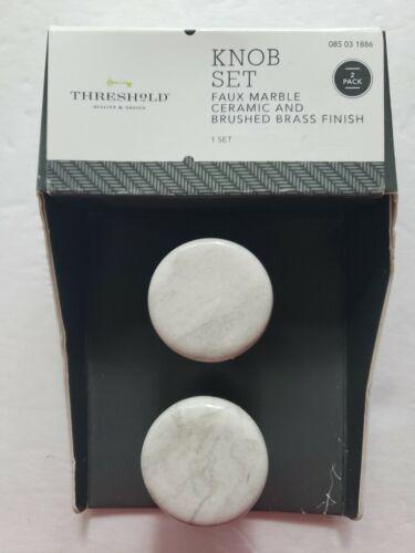 Threshold Knob Set Faux Marble Ceramic And Brushed Brass Finish New