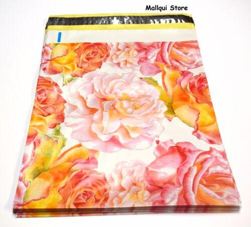 #18 100 FLOWER DESIGNER 10 x 13 MAILER POLY  MAILING SHIPPING PLASTIC BAGS Des