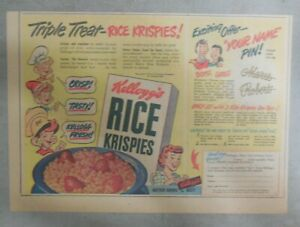 Kellogg's Cereal Ad: Name Pin Premium ! From 1949 Size: 7 x 10 inches