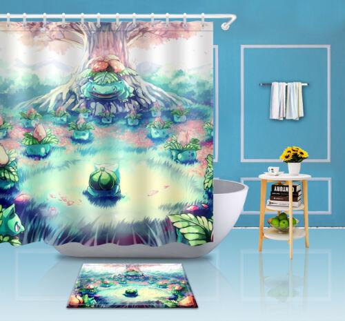 "Bathroom Fabric 72//79/"" Shower Curtain+Mat Rug+12Hook-Pokemon Cartoon World 3490"