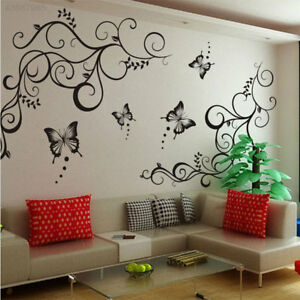 Removeable-Vinyl-Wall-Decal-Stickers-Butterfly-Flower-Leaf-Mural-Bedroom-Decor