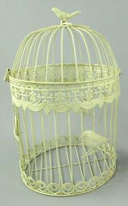 Antico Decorazione Gabbia per Uccelli IN Metallo Piante Fiori Rotondo (G)
