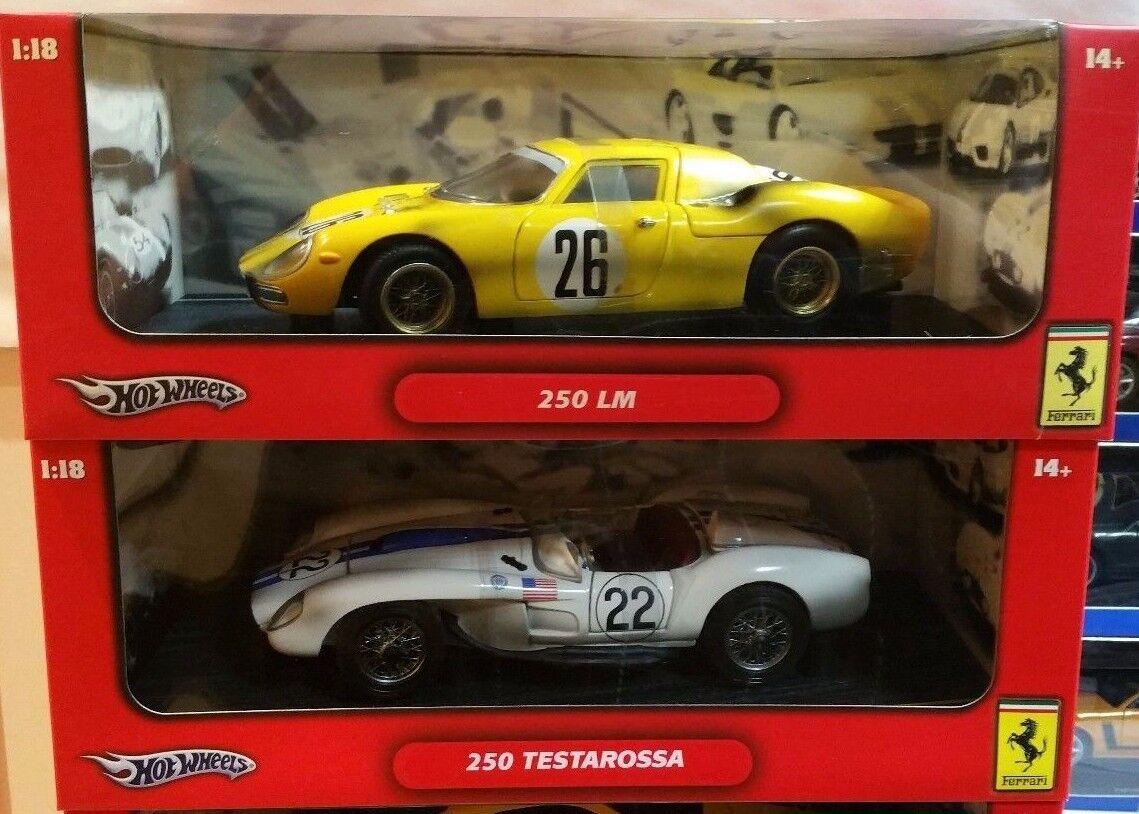 LOT OF 2 FERRARI DIRTY RACE CARS 250 LeMANS & & & TESTAROSSA by HOT WHEELS 1 18 2f1866