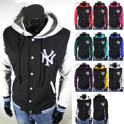 New Varsity Slim Fit NY Hooded Baseball Jacket QUALITY Cotton XS S M L XL 2XL