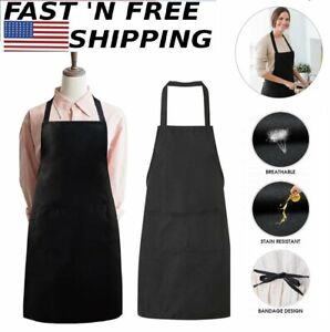 Men Women Apron Waterproof W// Pockets Kitchen Restaurant Chef Cooking Aprons
