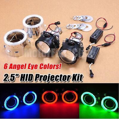 "New 2.5"" Bi-Xenon Hi/Lo HID Projector Kit Conversion Lens Angel Eye CCFL Halo"