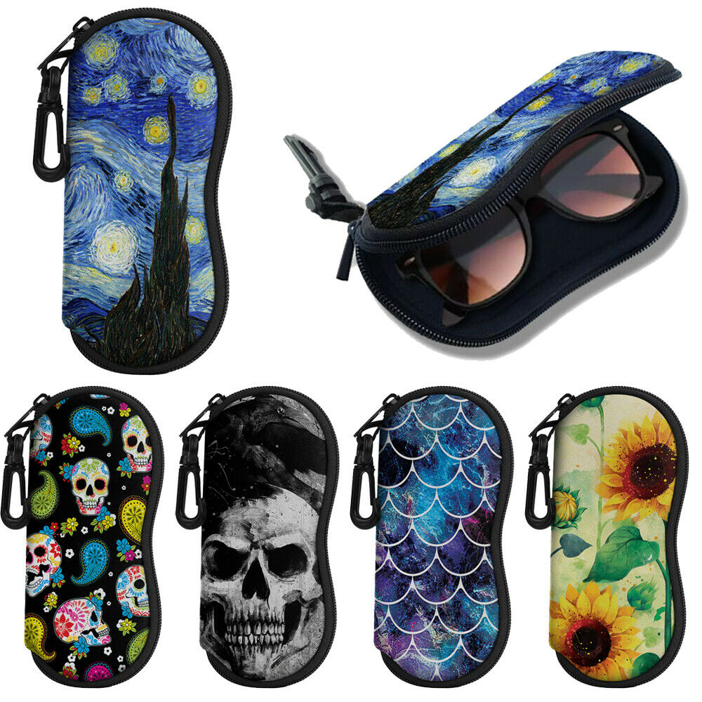 Eyeglasses Case Sunglasses Eyewear Glasses Protective Pouch Bag Carabiner Hook