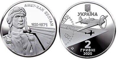 2 Hryvni 2020 UNC Amet-Khan Sultan Aircraft Lemberg-Zp Ukraine