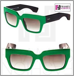 a39f6b436de60 PRADA POEME Square Chunky PR28PS Black Green Unisex Sunglasses SMP ...