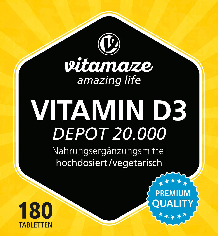 180 veg Tabletten iu Vitamin D3 Depot 20.000 i e hochdosiert €18,49//100g