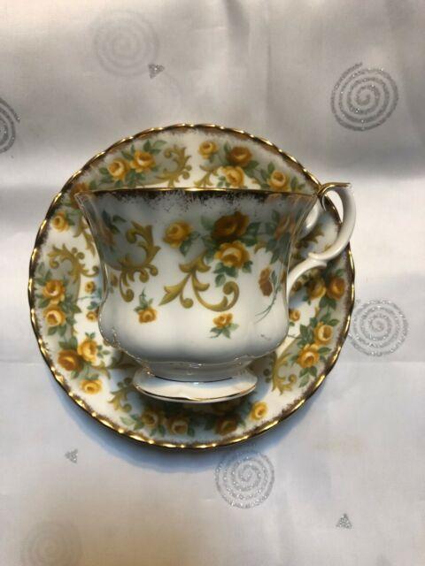 Royal Albert Teacup and Saucer Bone China England Gold Rose Floral