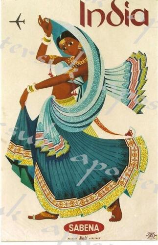 Vintage Sabena Flights to India Poster A3//A4 Print