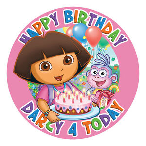 DORA-PERSONALISED-EDIBLE-ICING-IMAGE-PARTY-CAKE-TOPPER-ROUND
