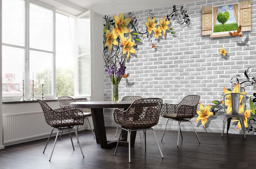3D Gelb Lily 66 Wallpaper Murals Wall Print Wallpaper Mural AJ WALL UK Summer