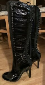 Dune Black patent knee boots Size 38