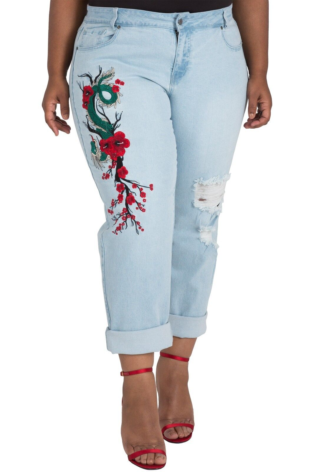Poetic Justice Plus Size Women's Curvy Fit Light Wash Dragon Embroidered Jeans