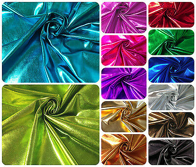 Metallic Shiny Foil on Stretch Knit Jersey Polyester Spandex Fabric 20 yard Roll