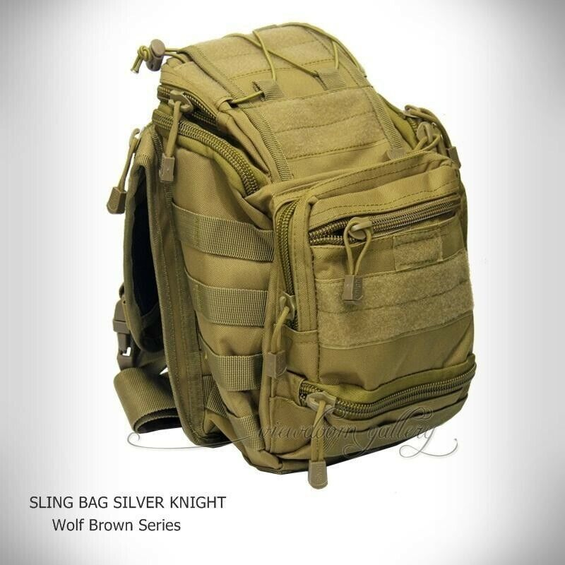 Silver Knight Military Army Hiking Backpack Sidepack Pack Sling Bag