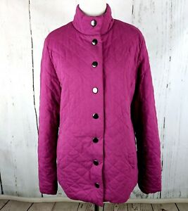 Details about Women's LANDS END Quilted Button Front Jacket Pink Small S Cotton Knit