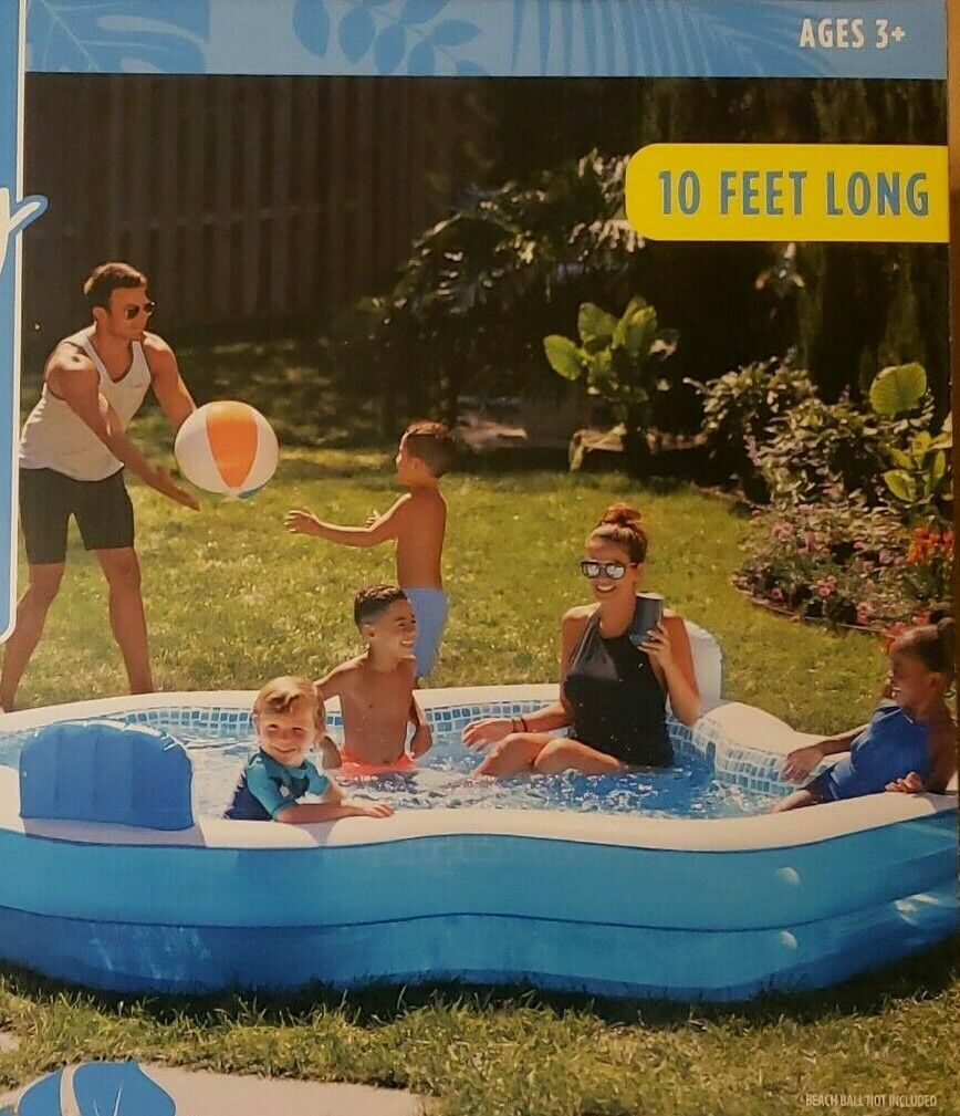 NEW Family Inflatable Mosaic Swimming Pool Lounge 10 Feet Long 2 Inflatable Seat
