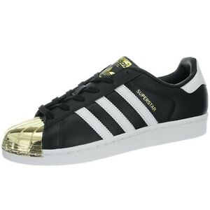 Details about Adidas Superstar Metal Toe W black white gold Women's low top sneakers leather