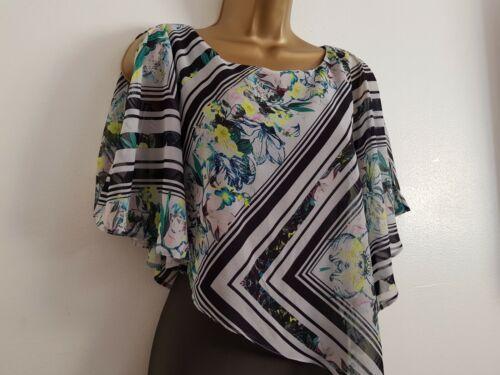 Ex Wallis 8-20 Chiffon Overlay Batwing Cold Shoulder Green Floral Print Dress