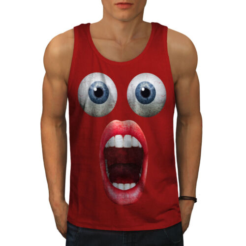 Wellcoda Surprise Face Cool Mens Tank Top Shocking Active Sports Shirt