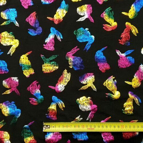 Baumwolljersey Baumwolle Jersey Stoff bedruckt mit Folie Ostern Hase Bekleidung