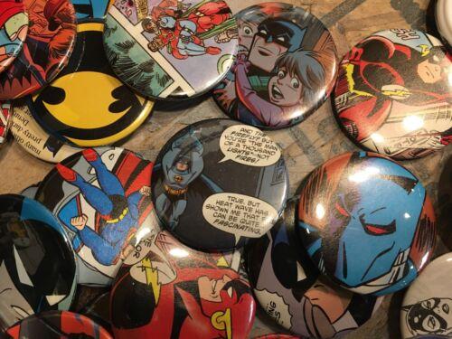 "2 pack 2.25/"" Random DC Comic Buttons Pin Batman,Superman,Wonder Woman,Joker etc"