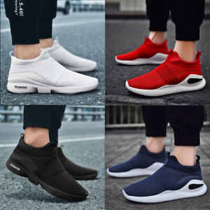Homme-Ados-Escarpins-Mesh-Baskets-Slip-On-Baskets-Respirant-Chaussures-Tailles-UK