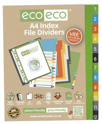 1 Set x 12pk eco-eco A4 50/% Recycled Wide Index File Folder Plastic Dividers