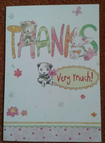 Thank you card ~ thanks very much ~ cute bear rabbit panda