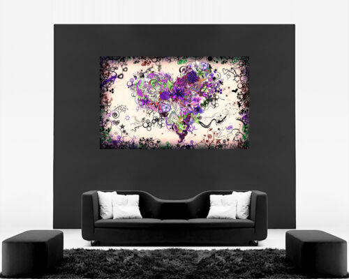A2 A1 Stunning Purple Tones Abstract Heart Canvas Wall Art Picture Print A0