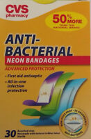 Cvs Pharmacy Anti-bacterial Neon Bandages, 30 Assorted Sizes