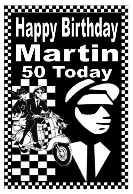 SKA / MODS - HAPPY BIRTHDAY PERSONALISED CARD (AGE / NAME) - GLOSS FINISH - NEW