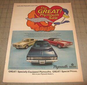 "1969 PLYMOUTH 10.5"" x 14"" Life Magazine 1-Page Ad - Barracuda - Fury - Satellite"